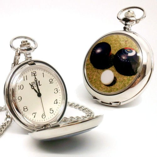 Personalised Silver Plated Lawn Bowls Pocket Watch (Engraved)