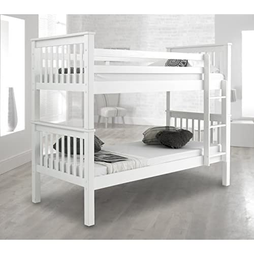 Atlantis Pinewood White Bunk Bed Two Sleeper Quality Solid Pine Wood Bunk Bed With 2 Luxury Spring Mattresses
