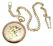 Reproduction of classic mechanical pocket watch gold plated with visible skeleton movement