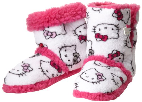 Hello Kitty Junior's Short Slipper Bootie, White, Small