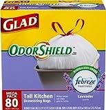 Glad OdorShield Tall Kitchen Drawstring Trash Bags, Lavender, 13 Gallon, 80 Count