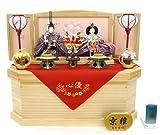 秀光オリジナル限定品 雛人形衣装着親王コンパクト収納飾りセット 駿河蒔絵のお道具と浮き刺繍の御殿まり柄屏風と飾り台兼用の六角収納箱が奥行き感を演出