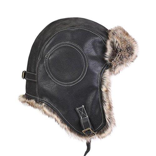 cea3ad21535 lethmik Aviator Hat Winter Ski Trapper Hat Classic Pilot Bomber Hat  Cracking Black