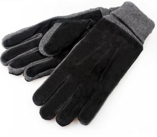 HSE Men Women autumn and winter plus thick velvet gloves, warm gloves pigskin leather men windproof cycling£¬Black