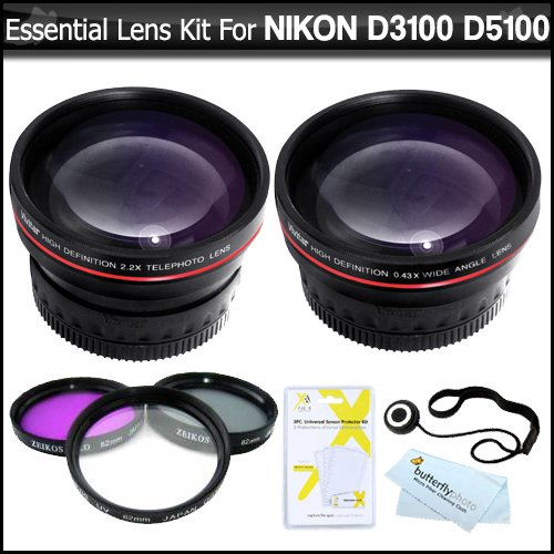 Essential Lens Kit For Nikon Df D5300 D3300 D5200 D3200 D3100 D5100 D800 D610 Dslr Camera Which Have Any Of These (18-55Mm, 55-200Mm, 50Mm) Nikon Lenses Includes Hd Wide Angle Lens W/ Macro + Hd 2X Telephoto Lens + Multi-Coated 3Pc Filter Kit (Uv-Cpl-Fld)