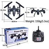 AMOSTING RC Drone with Camera FPV Quadcopter with 0.3MP HD Camera Real Time Transmission Wifi Phone Control Altitude Hold One Key Return Headless Mode LED Light 3D Flip 6 Axis Gyro - Black