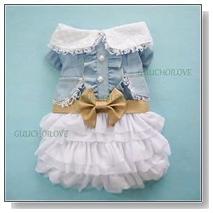 Fairy Denim Dog Dress for Dog Clothes Charming Cozy Dog Shirt Pet Dress S
