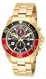 Invicta Pro Diver Men's Quartz Watch with Black Dial Chronograph display on Gold Stainless Steel Plated Bracelet 18518