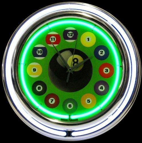 Billiard Ball Green Double Neon Clock