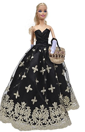 Banana Kong Black Strapless Dress Clothes Gown For Dolls - 1