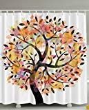 Colorful Spring Tree Leaves of Life Abstract Painting Pastoral Style Shades Home Creativity Style Decorating Bathroom Accessories Branches Decor Shower Curtain - Yellow Orange Coral Green Black White