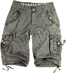 Mens Light-Grey Cargo Shorts Military #A8s Size:54