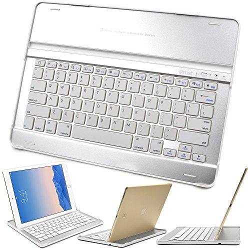 iitrust 超薄型 iPad Pro キーボードBluetooth アルミ合金素材 ノートパソコン型キーボードキット ホワイト