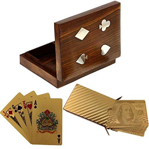 Scatola Di Carta Doppia In Legno Deluxe Con 2 Mazzo D'Oro Placcato Giocando A Carte Neldesign Del Dollaro