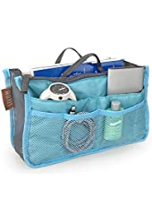 "Hoxis Purse Perfector Insert Organizer Diaper Bag Expandable 13 Pockets Organizer with Handles 10.6"" X 6.3"" Bag in Bag"