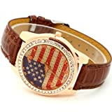 Conbays Brown Us Flag Round Dial Crystal Girl Leather Quartz Wrist Watch Women Gift Luxury