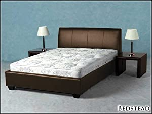 BROWN FAUX 4ft 6 LEATHER MODERN DOUBLE SIZE BED FRAME