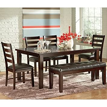 Steve Silver Sao Paulo 6 Piece Rectangular Dining Room Set in Espresso