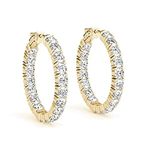 14kt Yellow Gold Inside Out Sur-Lok Diamond Hoop Earrings 4.00ct TW
