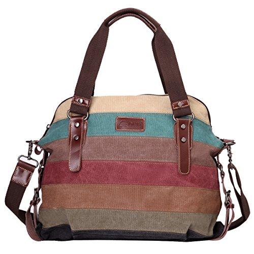 Eshow borsa da donna moda vintage retro di tela canvas da viaggio per uso quotidiano multicolore