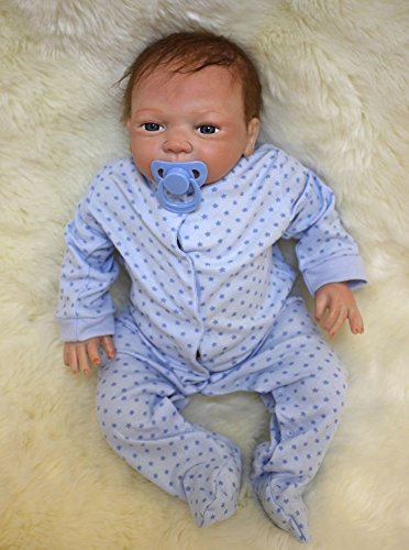 Rayish Reborn Baby Doll 18 Lifelike Realistic Baby Doll Magnetic Mouth Lovely Lifelike Cute Pink cute doll Blue eyes doll (Full Body Silicone Baby Boy compare prices)