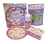 Kids Party Supplies for 8 - Plates - Cups - Napkins - Birthday Banner - Centerpiece (Butterflies)