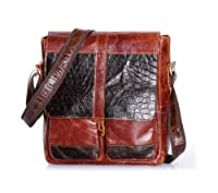 Amango Cowhide Leather Messenger Bag Black/Red
