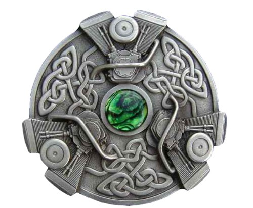 Celtic Knots With V-Twins Colored Pewter Novelty Belt Buckle