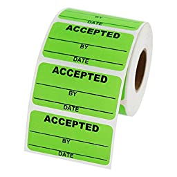 Accepted Inventory Labels 2 x 1 inch, 500 labels per roll