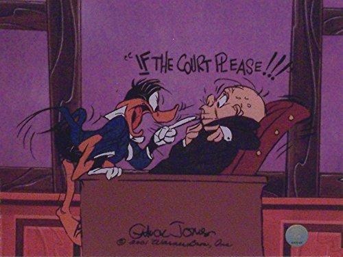 chuck-jones-artwork-depicting-daffy-duck-and-elmer-fudd-in-court-ltd-print-matted