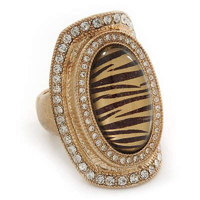 Large Oval Diamante Animal Print Flex Ring In Brushed Gold Metal - 3.7cm Length - Adjustable