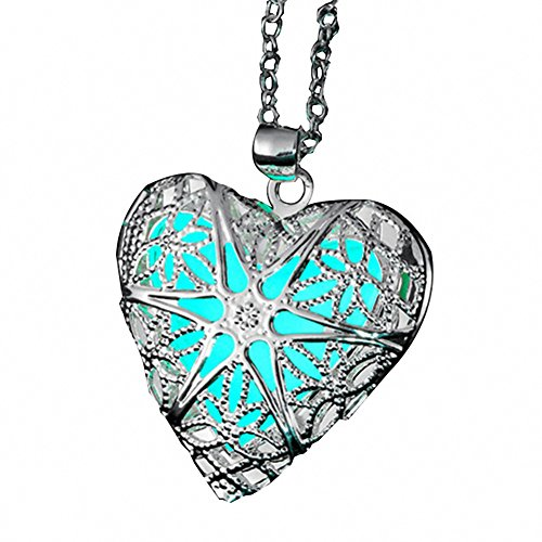 ELOI Magical Fairy Glow in the Dark Heart Locket 925 Sterling Silver Chain Pendant Necklace for Teen Girl