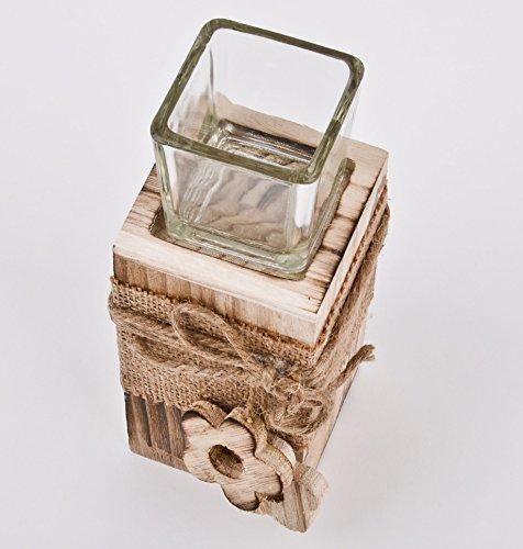 Steele-Blume-Teelicht-Deko-Objekt-Holz-braun-natur