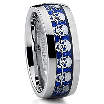 Dome Stainless Steel Ring Band with Blue Carbon Fiber and Skull Design