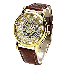 Mens Gold Round Mechanical Watch with Brown Leather Band