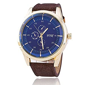 Wrist watch Sport Watch for Men Stainless Steel Watch with Leather Band