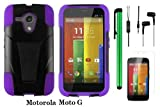 Motorola MOTO G (VERIZON BOOSTMOBILE) Premium T-stand Protector Hard Case Cover + 3.5MM Stereo Earphones + Screen Protector Film + 1 of New Metal Stylus Touch Screen Pen (PURPLE / BLACK)