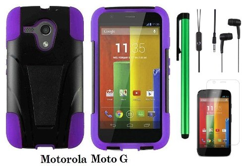 Motorola Moto G (Verizon, Boostmobile) Premium T-Stand Protector Hard Case Cover + 3.5Mm Stereo Earphones + Screen Protector Film + 1 Of New Metal Stylus Touch Screen Pen (Purple / Black)