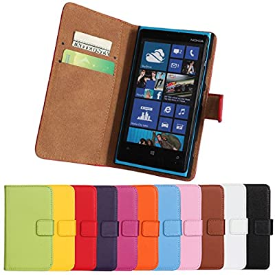 Lumia 920 Case, iCoverCase Genuine Leather Magnetic Flip [Card Slot] Wallet Cover Kickstand Case for Nokia Lumia 920 from iCoverCase