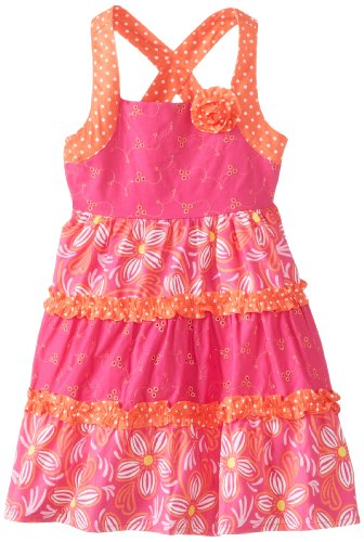 Younghearts Little Girls' Dress With Flowers And Rosette, Rosy Ring, 4T