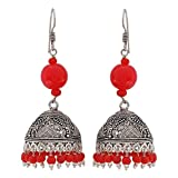 Maayra Charming Red Silver Oxidised Party Jhumki Earrings