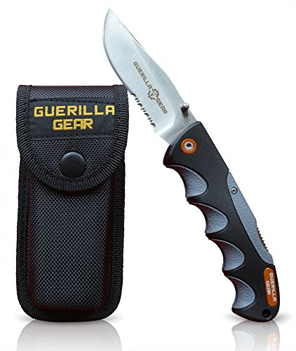 "Pocket Folding Tactical Knife With Belt Sheath, 5"" Blade, Made Of Stainless Steel, Non slip Grip, Lock Back, Serrated And"