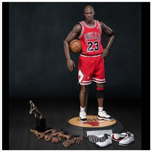 Enterbay x NBA Michael Jordan #23 Away Red Jersey 1:6 Figure with Air Jordan II, X, XI shoes [Series 1 Road Edition]