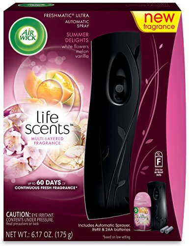 Air Wick Life Scents Automatic Air Freshener Spray Starter Kit, Flowers, Melon and Vanilla
