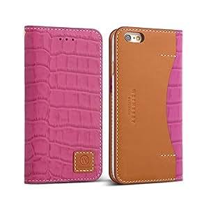 "iPhone 6s Case / iPhone 6 Case (4.7""), DESIGNSKIN WETHERBY PREMIUM CROCO : 100% Handcrafted Genuine Cow Leather Folio Flip ID Credit Card Storage Holder Luxurious Wallet Case (Pink)"