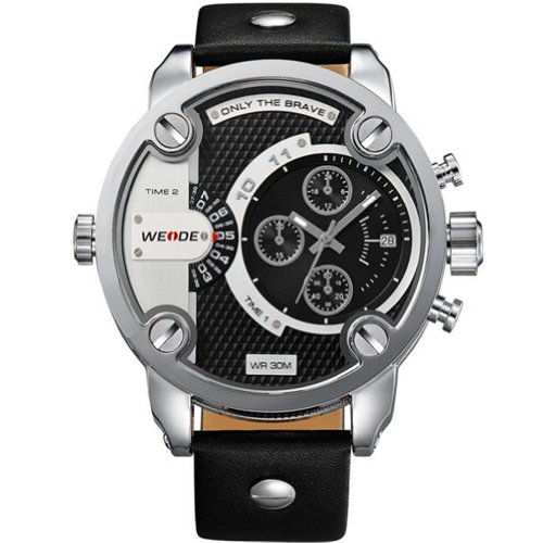 Weide Wh3301 Men Sports Watches Military Quartz Luxury Fashion Brand Leather Strap Watch Waterproofed Oversize Wristwatch (Black)