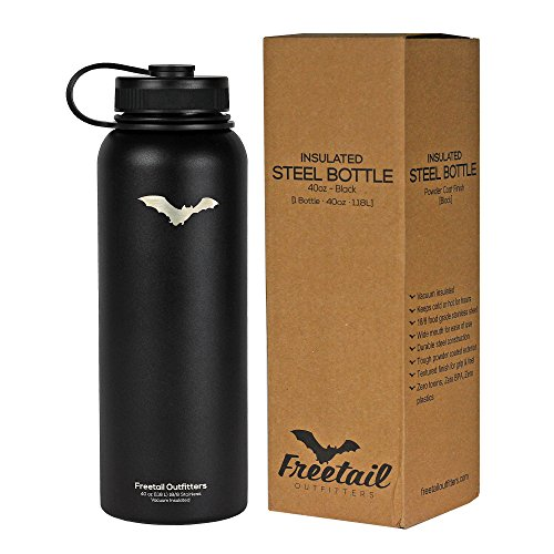 Freetail Outfitters Stainless Steel Insulated Water Bottle - 40oz (Black) (Stove Bottle Sterilizer compare prices)