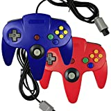 Bowink 2 packs Game gaming pad console Controllers For Nintendo 64 N64 - Red+Blue