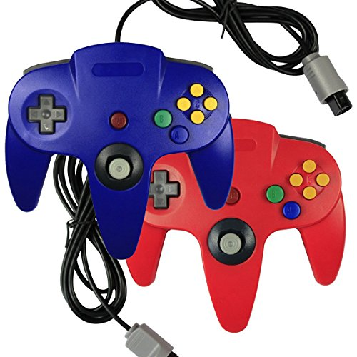 2 x Game gaming pad console Controllers For Nintendo 64 N64 - Red+Blue (Gex 2 compare prices)