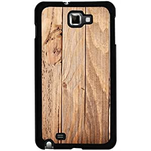 Casotec Wooden Texture Design 2D Hard Back Case Cover for Samsung Galaxy Note N7000 - Black